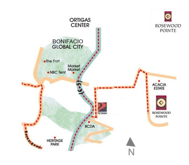 Rosewood Pointe Location Map in C5 taguig