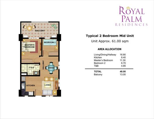 royal palm residences 2br 48sqm