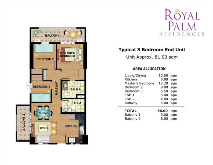 Royal Palm Residences 3br 66sqm