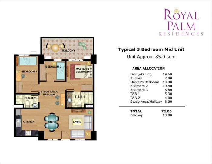 royal palm residences 3 br 72sqm