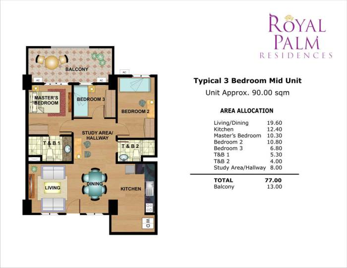 royal palm residences 3br 77sqm