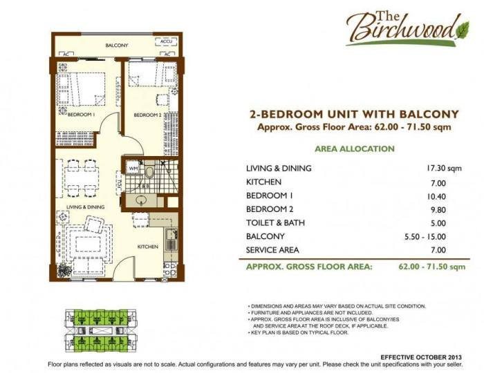 The Birchwood 2 bedroom Unit Layout with balcony