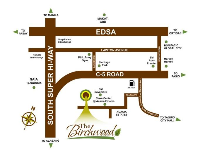 Location map of The Birchwood Condo at Acacia Estates, Taguig