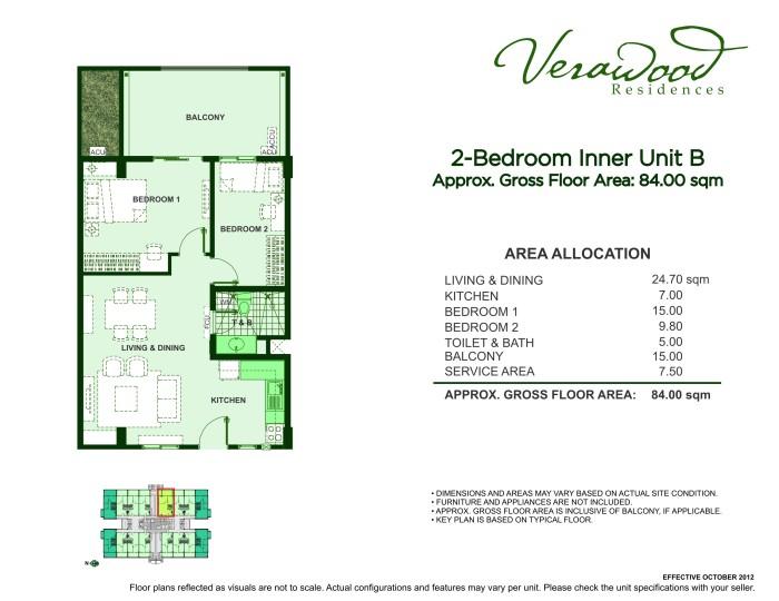 Verawood 2BR inner unit B plan