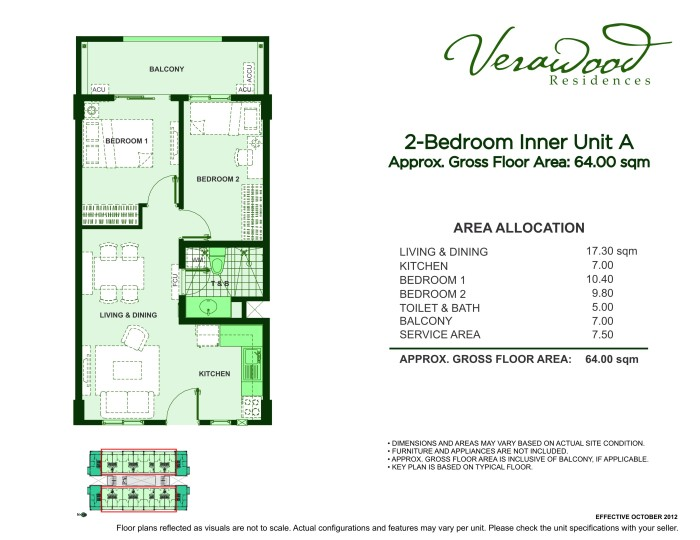 Verawood Residences 2BR inner unit A plan