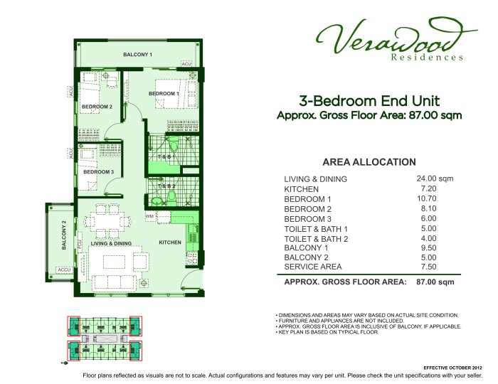 Verawood Residences 3BR end unit plan