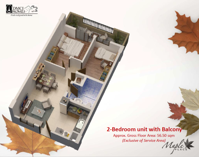 Maple Place 2 Bedroom Layout