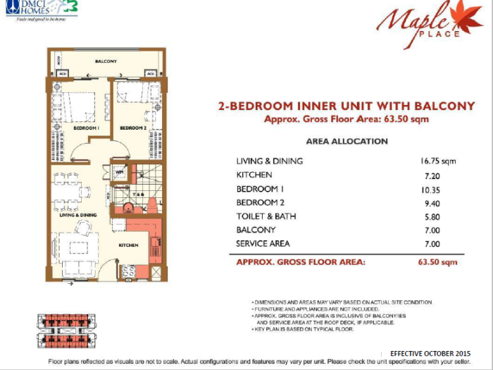 Maple Place 2 Bedroom Unit Layout