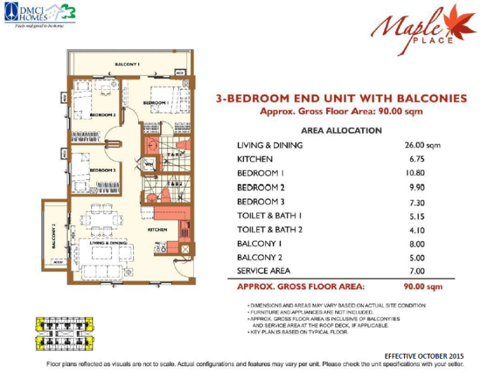 Maple Place 3 bedroom layout