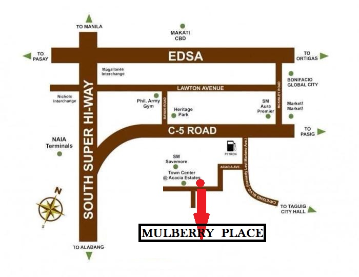 Mulberry Place Location Map in Acacia Estates Taguig